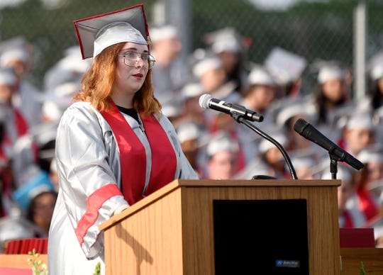 """Poet Laureate Alexia Opromollo shares her work """"The End of an Era"""" during Vineland High School Class of 2019 graduation ceremony. June 20, 2019"""