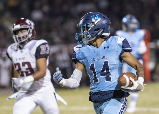 Former Redwood High School standout La'Dre Aguilar is a player to watch for the East team in Saturday's 52nd annual Kings-Tulare All-Star Football Game.