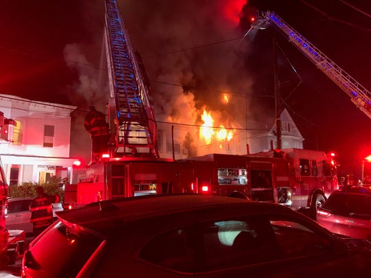 Flames tore through a house on Warburton Avenue in Yonkers on June 19, 2019.