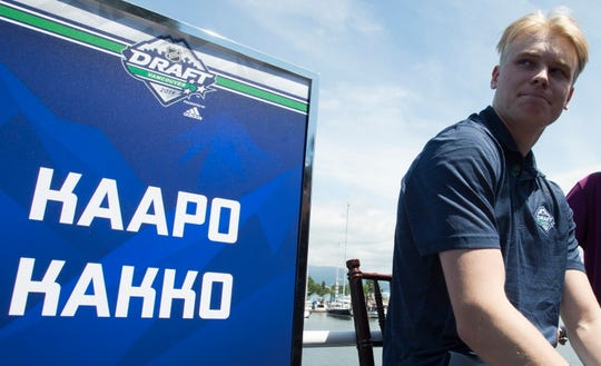 NHL top prospect Kaapo Kakko, of Finland, is seen during a top prospects media availability in Vancouver, British Columbia, Thursday, June 20, 2019. (Jonathan Hayward/The Canadian Press via AP)