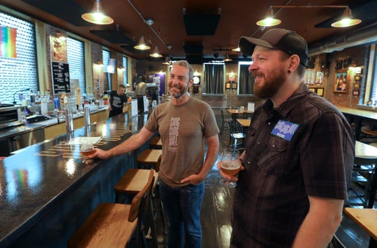 Eric Gearity, left, and Matt Curtin, owners of Sing Sing Kill Brewery in Ossining June 19, 2019.