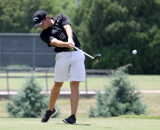 Isaiah Brevick, Argyle, TX, tees off Wednesday, June 19, 2019, at the Texas-Oklahoma Jr. Golf Tournament at the Wichita Falls Country Club. Brevisk placed first in the Boys Open Championship.