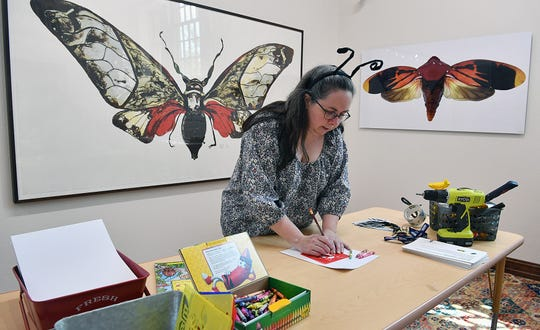 Gallery Director Kristine Thueson sets up a drawing activity station for the ArtZeum exhibit opening Friday at the Kemp Center for the Arts. This year's exhibit is Small Wonders: Insects and Art.