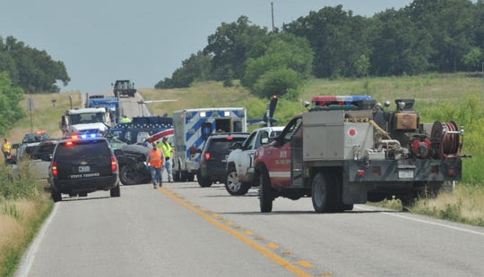 Several emergency agencies work the scene of a major accident south of Henrietta Wednesday afternoon.