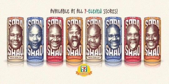 """Shaq teamed up with Arizona beverages to create a low-calorie soda called """"Soda Shaq."""" The soda line offered four flavors: blueberry cream soda, strawberry cream soda, vanilla cream soda and orange cream soda."""