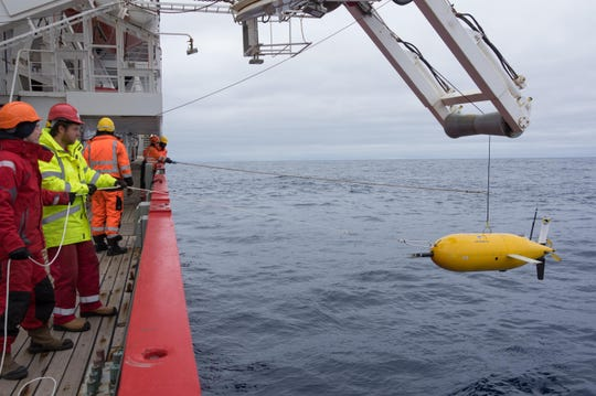 Boaty McBoatFace being deployed for the mission in 2017 in the Southern Ocean.