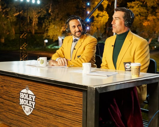 """Joe Tessitore, left, and Rob Riggle offer colorful commentary on ABC's mini-golf competition, """"Holey Moley."""""""