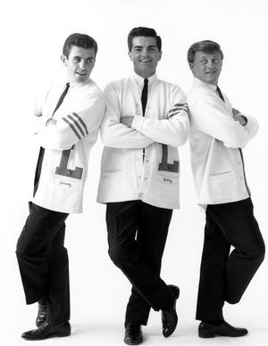 Members of the Lettermen are seen in a promotional photo circa 1961: Jim Pike (from left), Bob Engemann and Tony Butala.