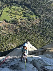 In this June 10, 2019, photo, provided by Michael Schneiter, is Selah Schneiter during her climb up El Capitan in Yosemite National Park, Calif.
