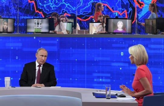 Russian President Vladimir Putin backed a $390 billion spending programduring his call-in show on June 20, 2019.