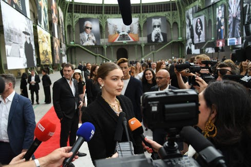 Gigi Hadid gives an interview prior the Karl Lagerfeld Homage at Grand Palais on June 20, 2019 in Paris, France.