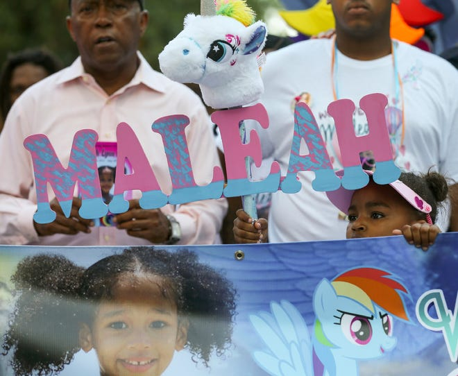 Thousands of people marched from City Hall to the Harris County Jail in honor of Maleah Davis, the four-year-old girl who went missing in early May and whose body was found tossed along an Arkansas roadside on Sunday, June 9, 2019, in Houston.