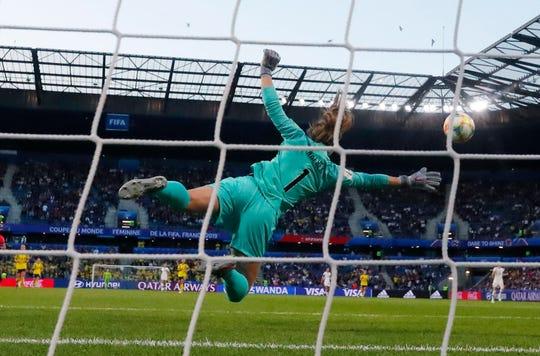U.S. goalkeeper Alyssa Naeher makes a save against Sweden.