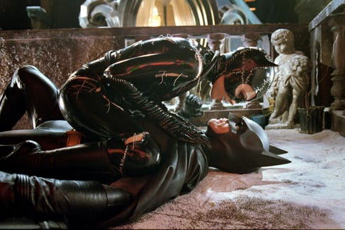 "Michelle Pfeiffer's Catwoman is a feline femme fatale for Michael Keaton's hero in ""Batman Returns."""
