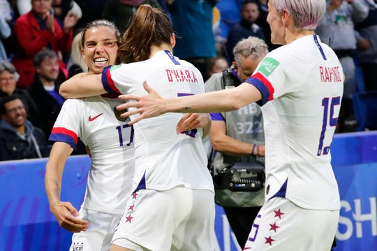 United States forward Tobin Heath (17) celebrates with teammates after scoring a goal against Sweden during the FIFA 2019 Women's World Cup in France.