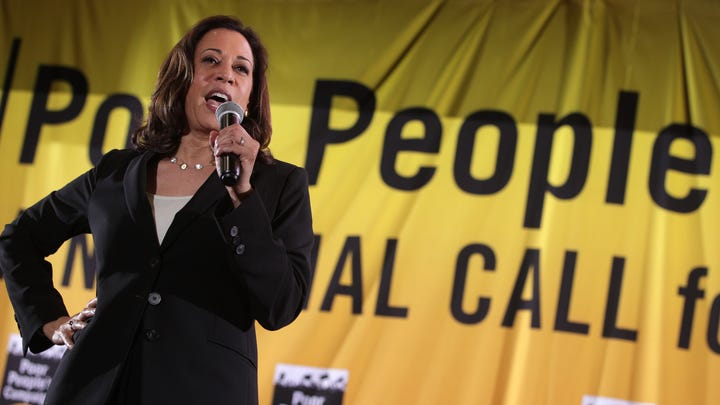 WASHINGTON, DC - JUNE 17:  Democratic U.S. presidential candidate Sen. Kamala Harris (D-CA) addresses the Moral Action Congress of the Poor People's Campaign June 17, 2019 at Trinity Washington University in Washington, DC. The Campaign held the event to focus on issues like voting rights, health care, housing, equitable education, indigenous sovereignty, living wage jobs and the right to join a union, clean air and water, and an end to gun proliferation and war mongering and other issues in our moral agenda.   (Photo by Alex Wong/Getty Images) ORG XMIT: 775356065 ORIG FILE ID: 1156570726