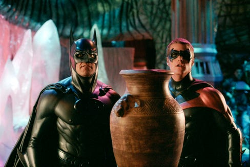 "George Clooney (left) and Chris O'Donnell were the not-so-dynamic duo of ""Batman & Robin."""