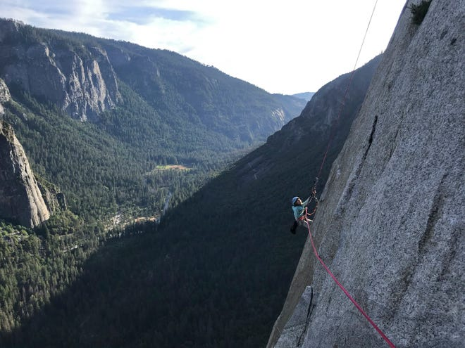 In this June 10, 2019, photo, provided by Michael Schneiter, is Selah Schneiter during her climb up El Capitan in Yosemite National Park, Calif. The 10-year-old Colorado girl has scaled Yosemite National Park's El Capitan, taking five days to reach the top of the iconic rock formation.