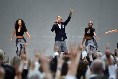 "Pharrell Williams performed ""Gust of Wind"" at the Karl Lagerfeld Homage in Paris."