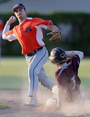 Ben Kohl of the Menasha Macs looks to turn a double play against the Appleton Legends during the UNLESS Cancer Benefit Baseball Game on Thursday at Koslo Field in Menasha.
