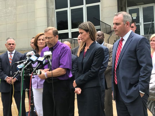 Michael Stern, father of murder victim Sarah Stern, speaks at a new conference following the sentencing of his daughter's killer, Liam McAtasney, at the Monmouth County Courthouse in Freehold.