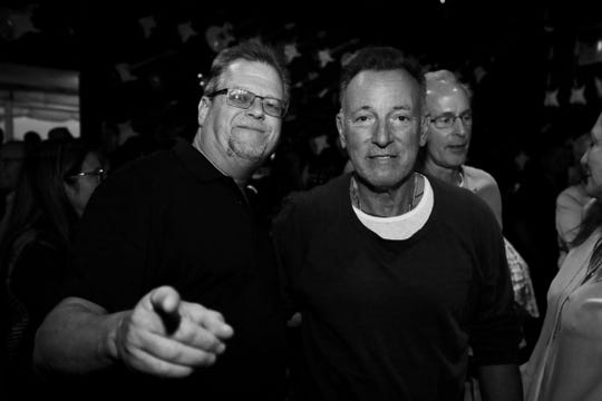 Kyle Brendle of the Stone Pony and Bruce Springsteen at the Pony for the Kerry Layton memorial on June 20, 2019.