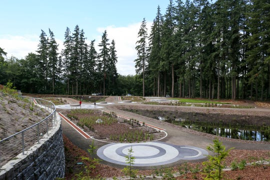 On a clear day, visitors to Whispering Firs Stormwater Park can see the Olympic mountains through the pines.