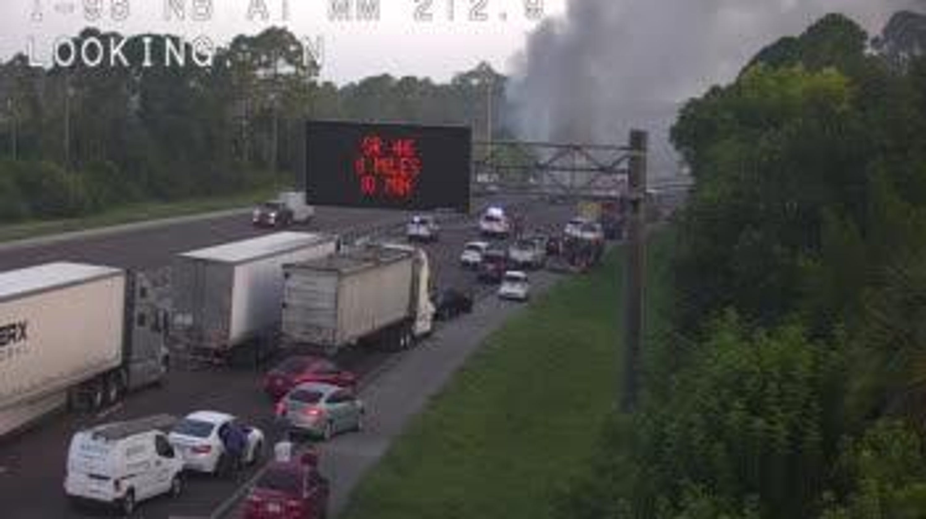 Tractor-trailer fire affecting traffic on northbound I-95 near