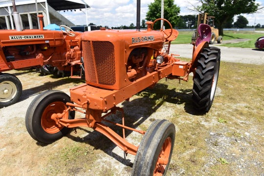 An Allis-Chalmers tractor was on display during the 2019 Crawford Farm Machinery Show.