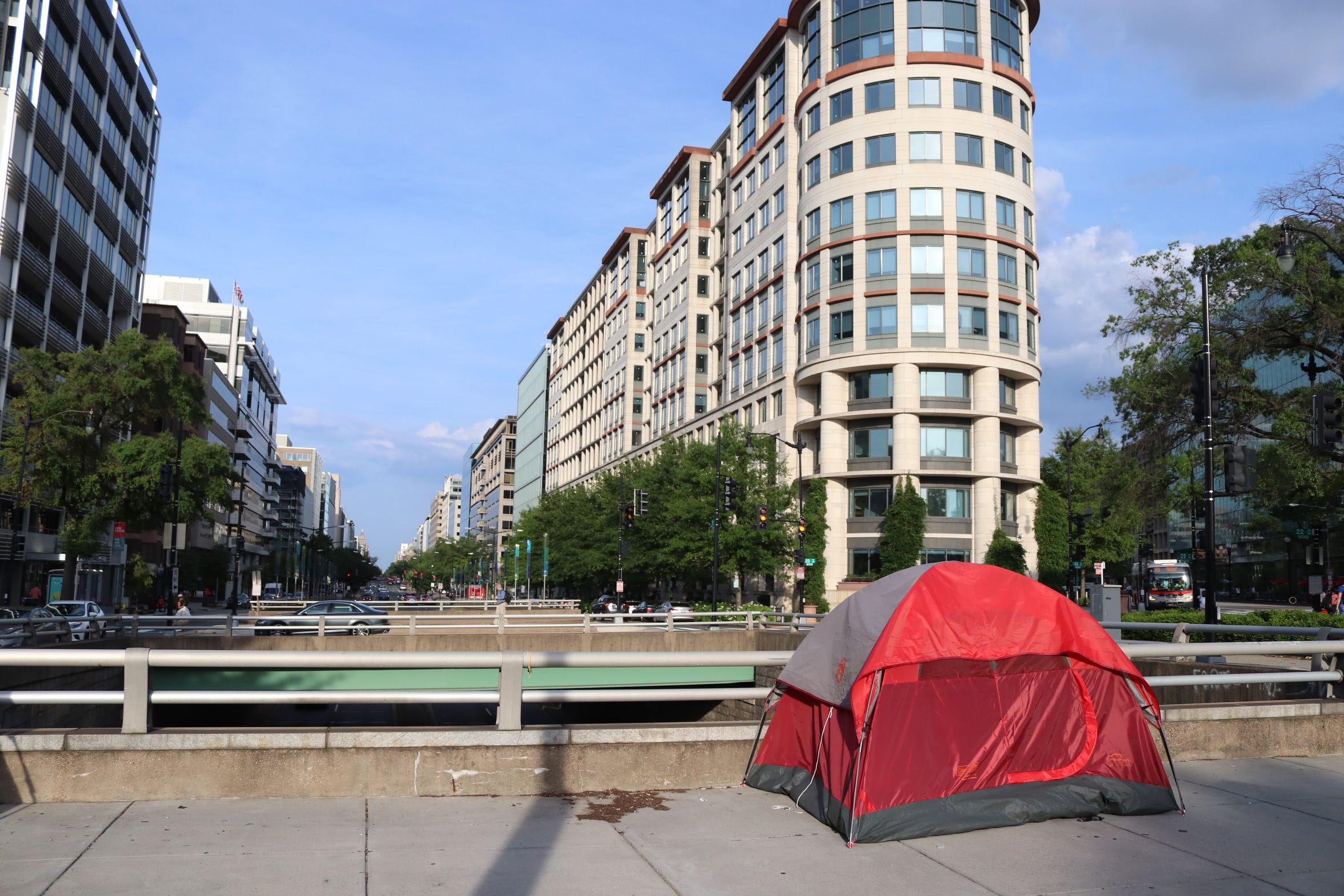 While visiting the U.S. from Russia Pavel Alekseev notices tents of homeless people on the street of Washington D.C.