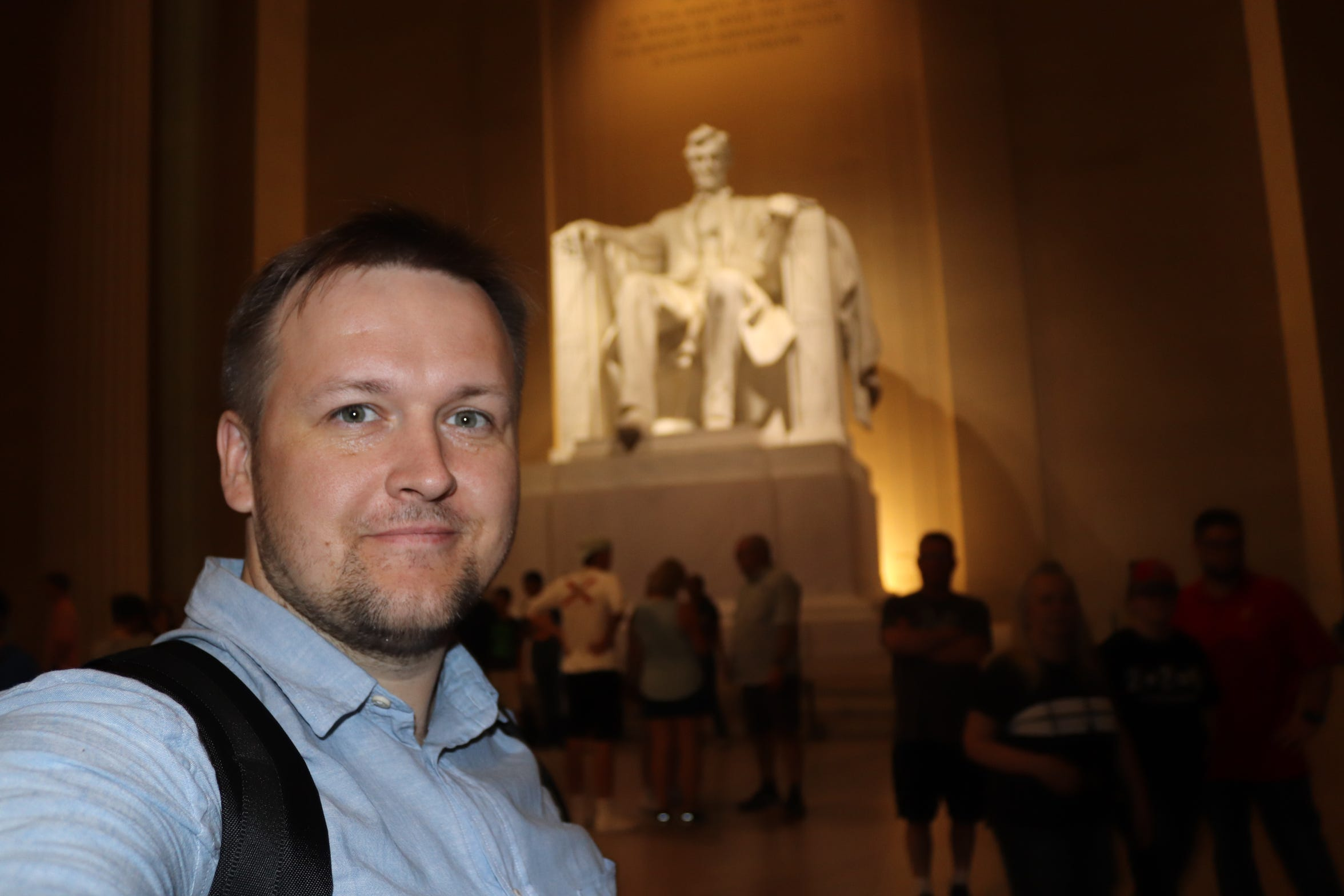 Visiting Russian journalist Pavel Alekseev at the Lincoln Memorial in Washington, D.C.
