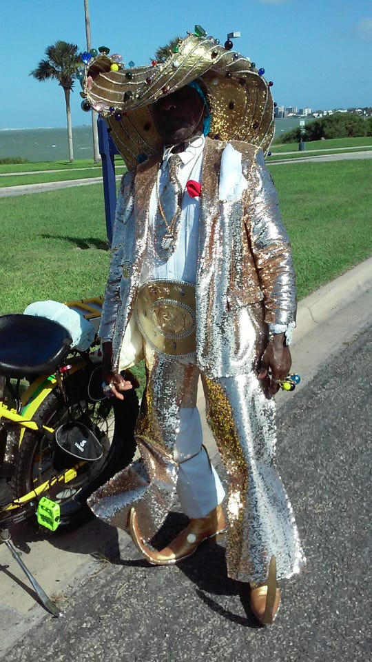 Ronald Mathis makes his own outfits.