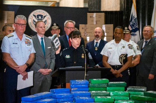 Casey Durst, the U.S. Customs and Border Protection Director of Field Operations in Baltimore, speaks as a press conference is held outlining details of a historic Port of Philly cocaine bust Friday, June 21, 2019 in Philadelphia, Pa.