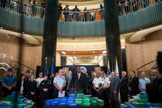 Marlon Miller, Special Agent in Charge for Homeland Security Investigations, speaks as a press conference is held outlining details of a historic Port of Philly cocaine bust Friday, June 21, 2019 in Philadelphia, Pa.