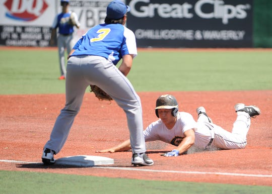 Harley Patterson slides into third base against Jefferson County Post 33 on Friday. The Chillicothe Post 757 Colts lost to Jefferson County 33 by a score of 9-3 on Friday, June 21, 2019, at the VA Memorial Stadium.