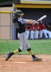Scott Lightle swings at a pitch against Hillsboro 129 on Friday. The Waverly Post 142 Shockers defeated Hillsboro 129 by a score of 11-1 on Friday, June 21, 2019, at Unioto High School.