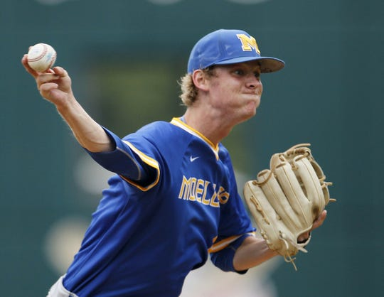 Saturday, June 6, 2015: Moeller's Grant Macciocchi (1) delivers a pitch in the bottom of the fourth inning of the OHSAA Division I State Championship baseball game between the Moeller Crusaders and the Westerville Central Warhawks at Huntington Park in Columbus, Ohio, on Saturday, June 6, 2015. The Crusaders won the school's eighth state title with a 16-0, three-hit shutout of the Warhawks in just five innings.