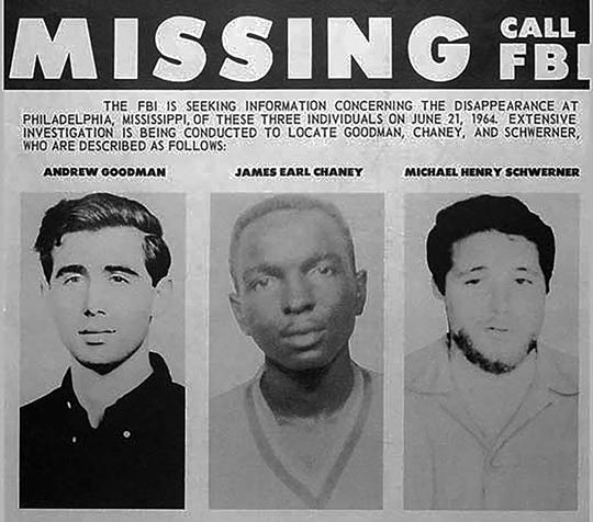 An FBI missing poster for civil rights activists Andrew Goodman, James Earl Chaney and Michael Henry Schwerner.