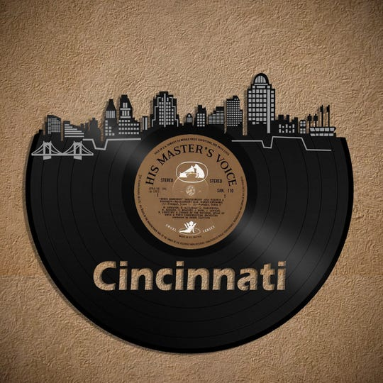 Cincinnati skyline record art, $33.99