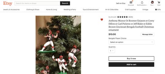 Cincinnati Bengals football Christmas ornament, $10