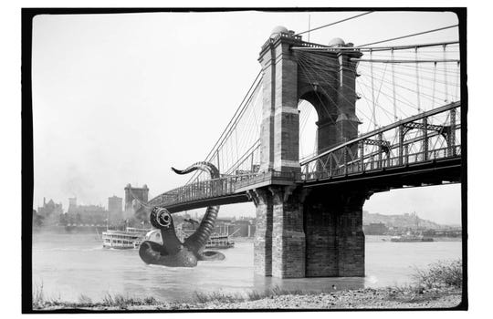 Roebling Bridge with tentacles digital print, $20