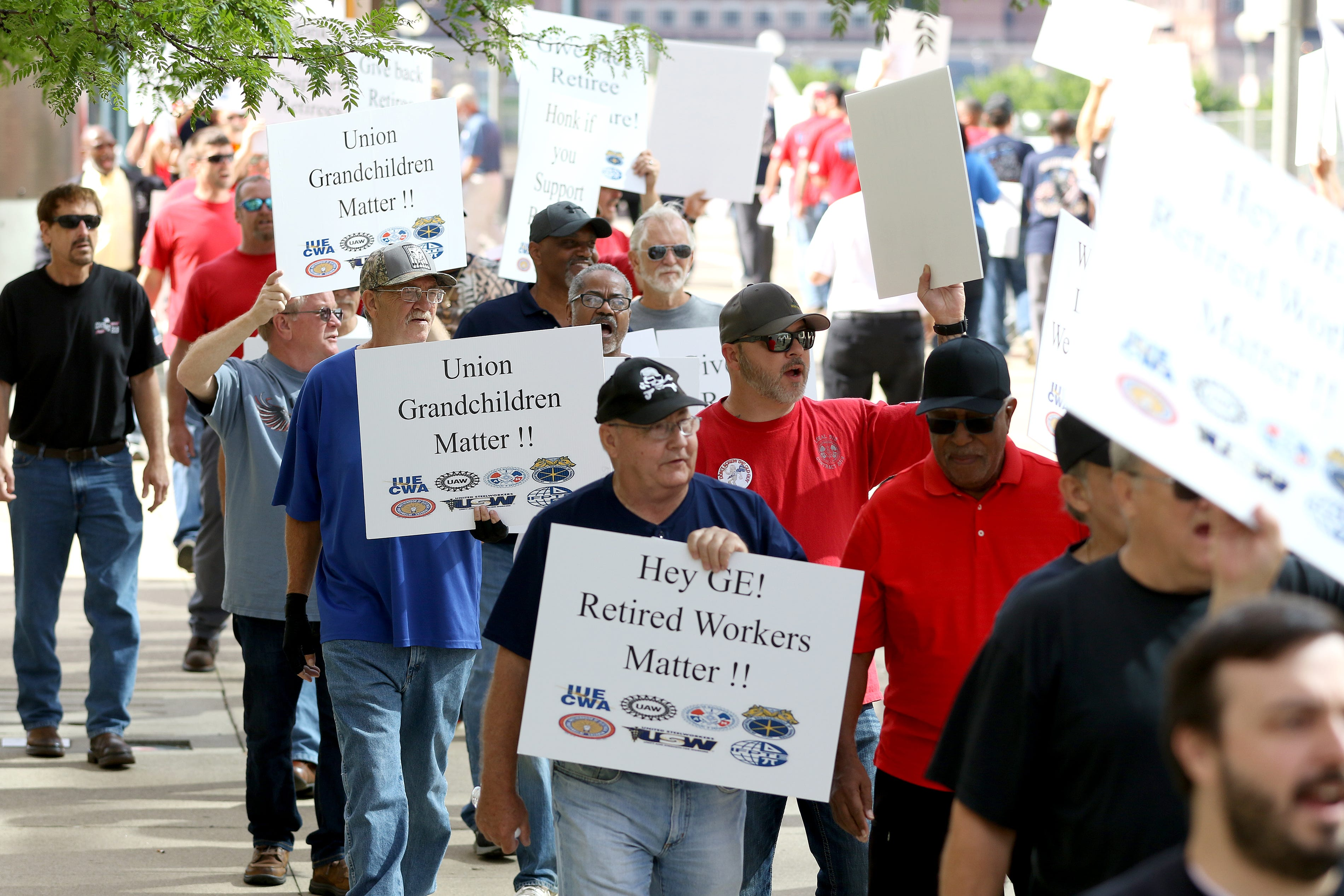 GE retirees protest health benefit, pension issues