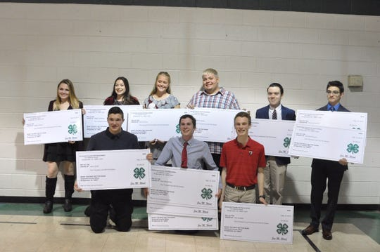 Somerset County 4-H scholarship recipients: Back row (left to right):  Leigha Giranda, Abigail Johnstone, Kara Johnson, Wil Staats, William Walto and Zach Ferreira. Front row (left to right):  Jason Smith, Evan Brochinsky, and Alex Strasser.