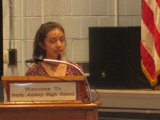 A Perth Amboy High School student addressed the Board of Education at Thursday's meeting.