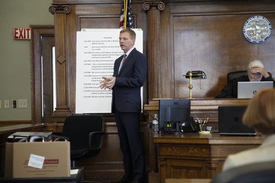 Chris Godfrey, a former Iowa Workers' Compensation Commissioner who is suing former Gov. Terry Branstad for discrimination, testifies at trial at the Jasper County Courthouse on Friday, June 21, 2019.