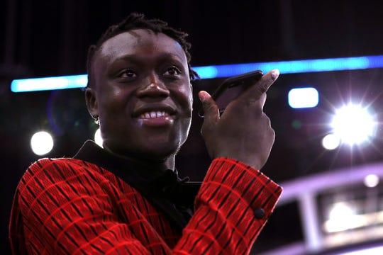 Sekou Doumbouya before the start of Thursday's draft in Brooklyn, N.Y.