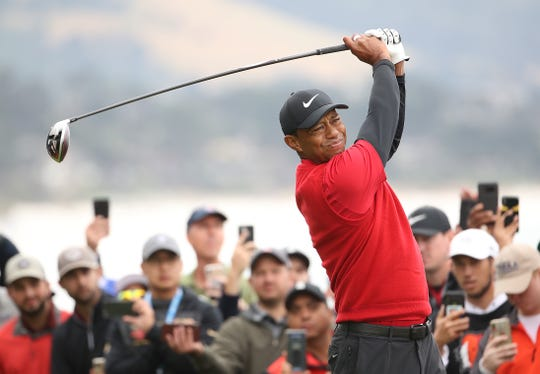 Tiger Woods plays a shot from the 14th tee during the final round of the U.S. Open at Pebble Beach Golf Links on June 16, 2019 in Pebble Beach, Calif.