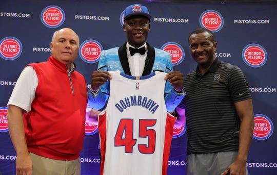 Detroit Pistons senior adviser Ed Stefanski, first-round draft pick Sekou Doumbouya and coach Dwane Casey, Friday, June 21, 2019 at the practice facility in Auburn Hills.