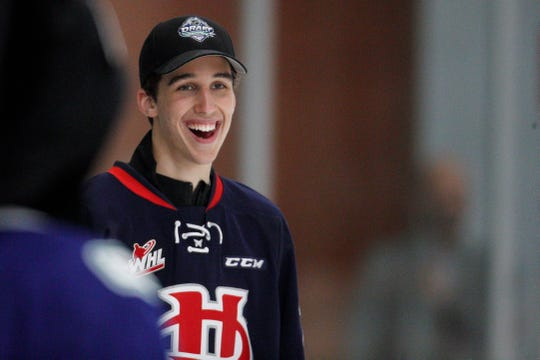 Dylan Cozens takes part in a top prospects clinic prior to the NHL draft at Hillcrest Community Centre on June 20, 2019 in Vancouver, British Columbia.