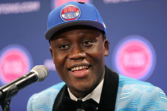 Pistons introduce first-round draft pick Sekou Doumbouya on June 21 in Auburn Hills.